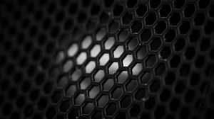 Preview wallpaper mesh, hexagons, black and white, black
