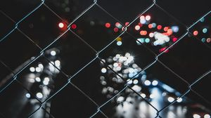 Preview wallpaper mesh, metal, fence, dark, glare, lights