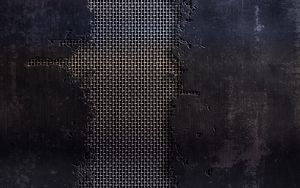 Preview wallpaper metal, mesh, cracks, scratches, black and white, texture