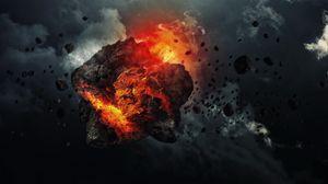 Preview wallpaper meteorite, speed, space, debris, smoke