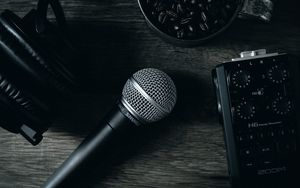 Preview wallpaper microphone, device, music, sound, dark