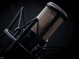 Preview wallpaper microphone, musical equipment, black, music
