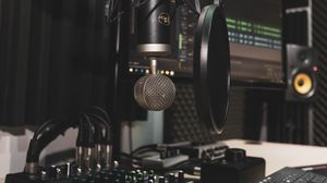 Preview wallpaper microphone, recording studio, mixer, remote control, equalizer, acoustics, equipment