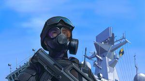Preview wallpaper soldier, military, mask, machine gun, weapon, army, art