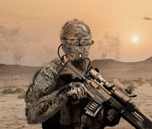 Preview wallpaper military, soldier, mask, rifle, desert
