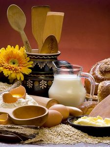 Preview wallpaper milk, cheese, eggs, bread, still life, components