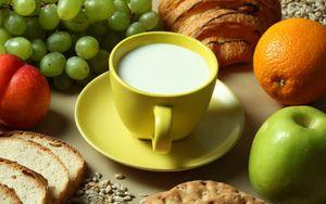 Preview wallpaper milk, fruit, bread