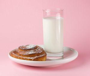 Preview wallpaper milk, glass, roll, plate