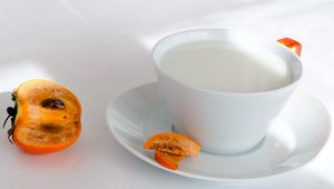 Preview wallpaper milk, persimmon, cup, sliced