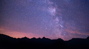 Preview wallpaper milky way, starry sky, night, mountains