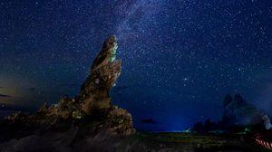 Preview wallpaper milky way, starry sky, rocks, night