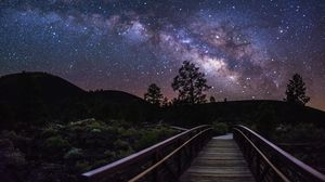 Preview wallpaper milky way, stars, sky, trees, silhouettes, night