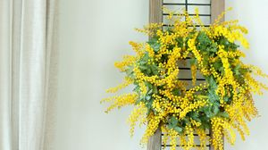 Preview wallpaper mimosa, wreath, yellow, wall
