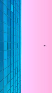 Preview wallpaper minimalism, blue, pink, building, sky, bird