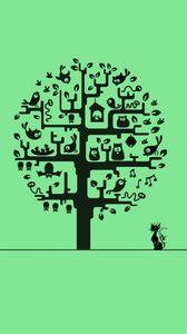 Preview wallpaper minimalism, cat, tree