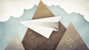 Preview wallpaper minimalism, mountains, clouds, sky, paper airplane