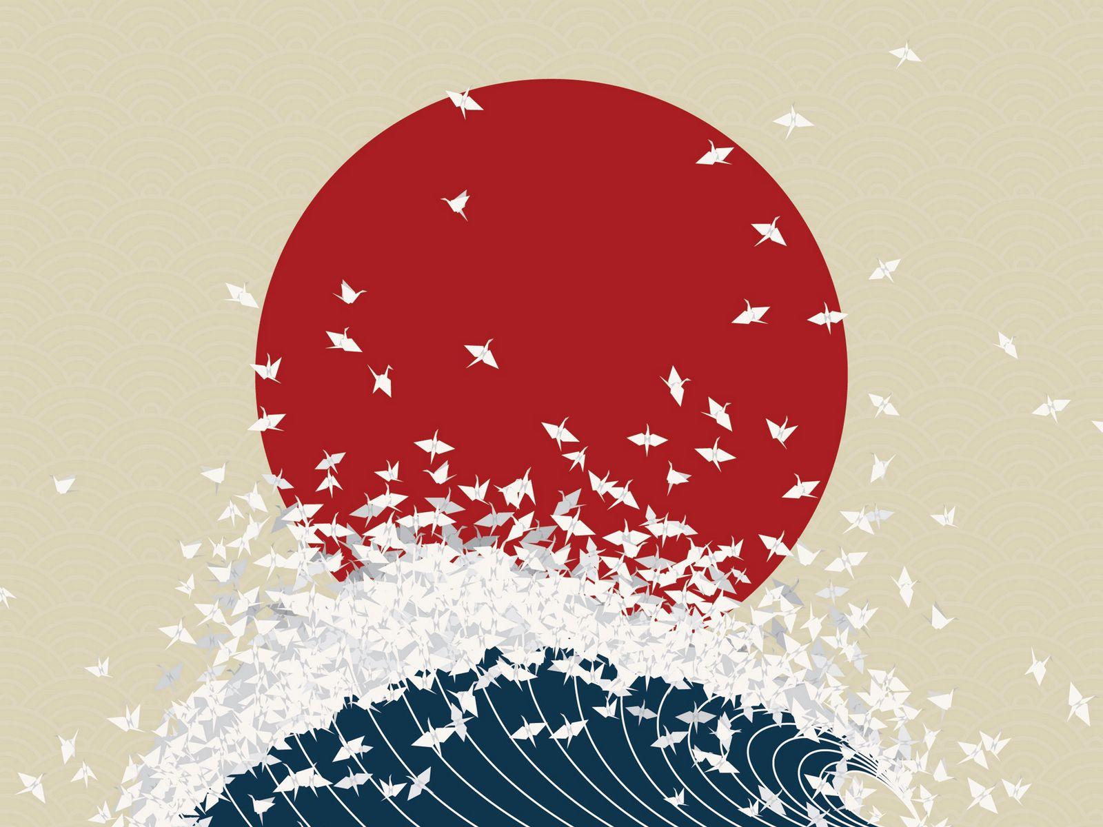 1600x1200 Wallpaper minimalism, origami, japan, rising sun, wave