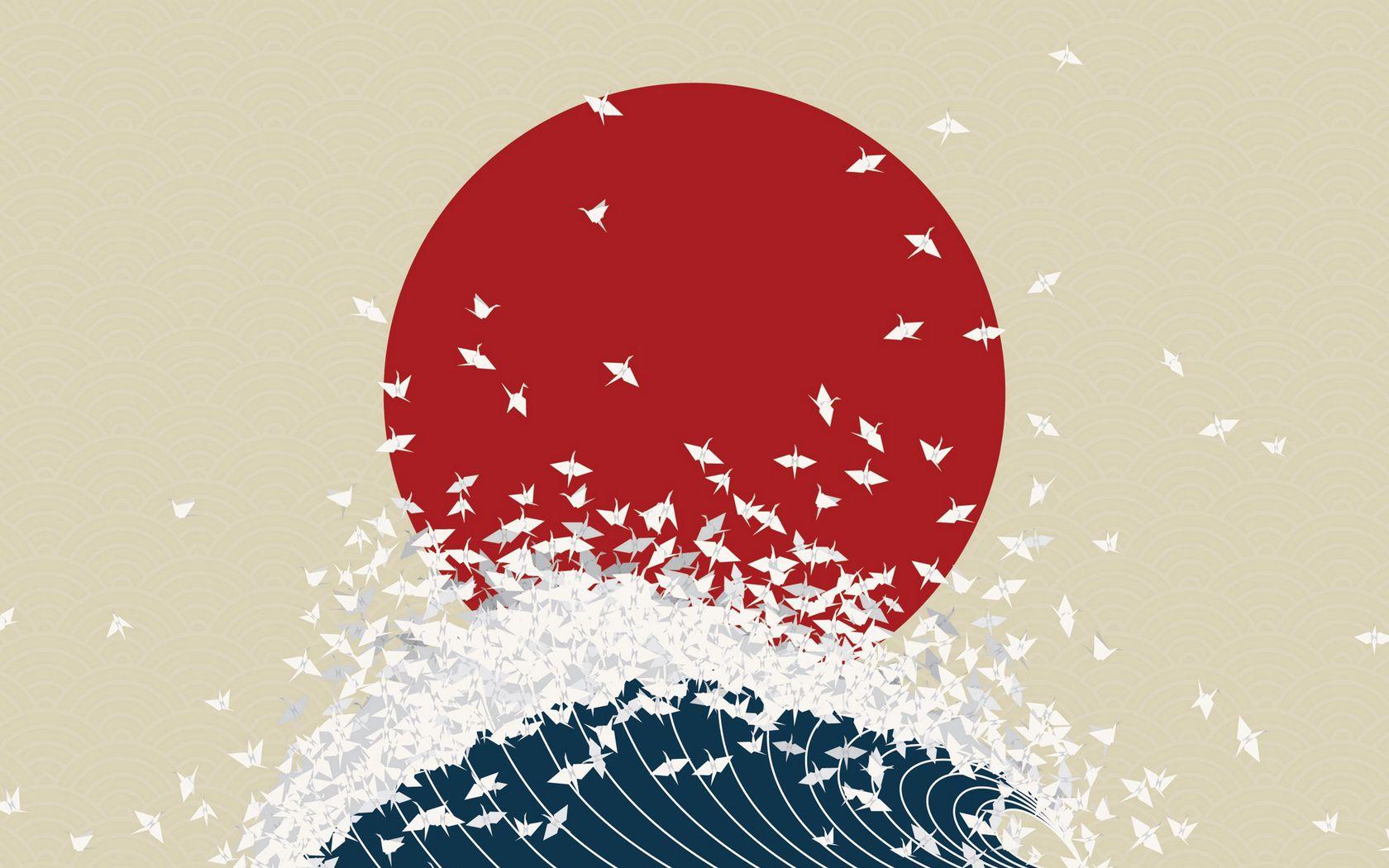 1680x1050 Wallpaper minimalism, origami, japan, rising sun, wave