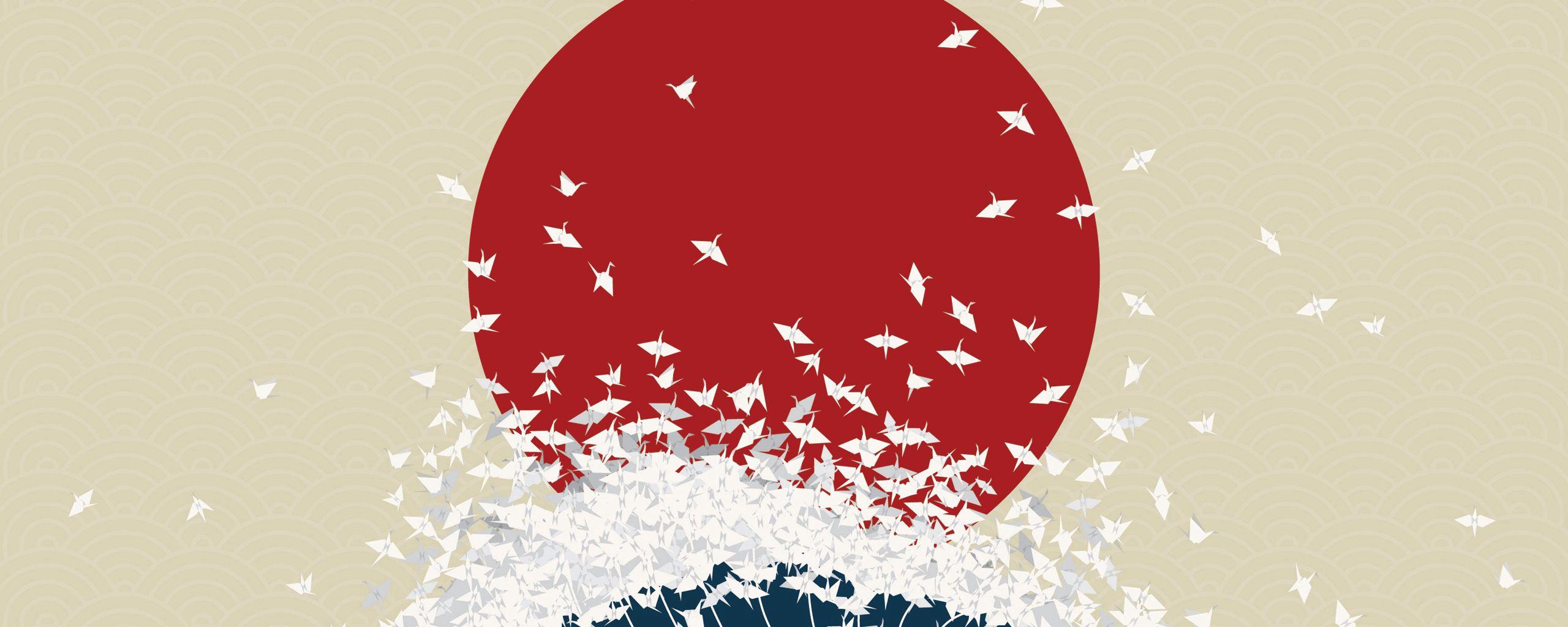 2560x1024 Wallpaper minimalism, origami, japan, rising sun, wave