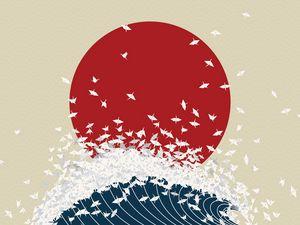 Preview wallpaper minimalism, origami, japan, rising sun, wave