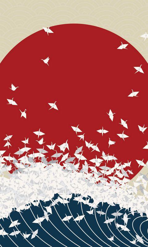 480x800 Wallpaper minimalism, origami, japan, rising sun, wave