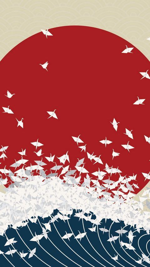 480x854 Wallpaper minimalism, origami, japan, rising sun, wave