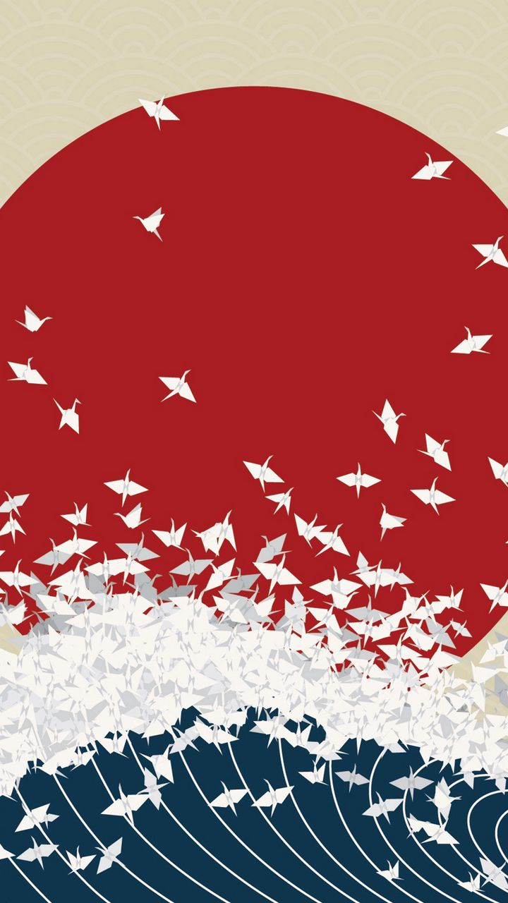 720x1280 Wallpaper minimalism, origami, japan, rising sun, wave