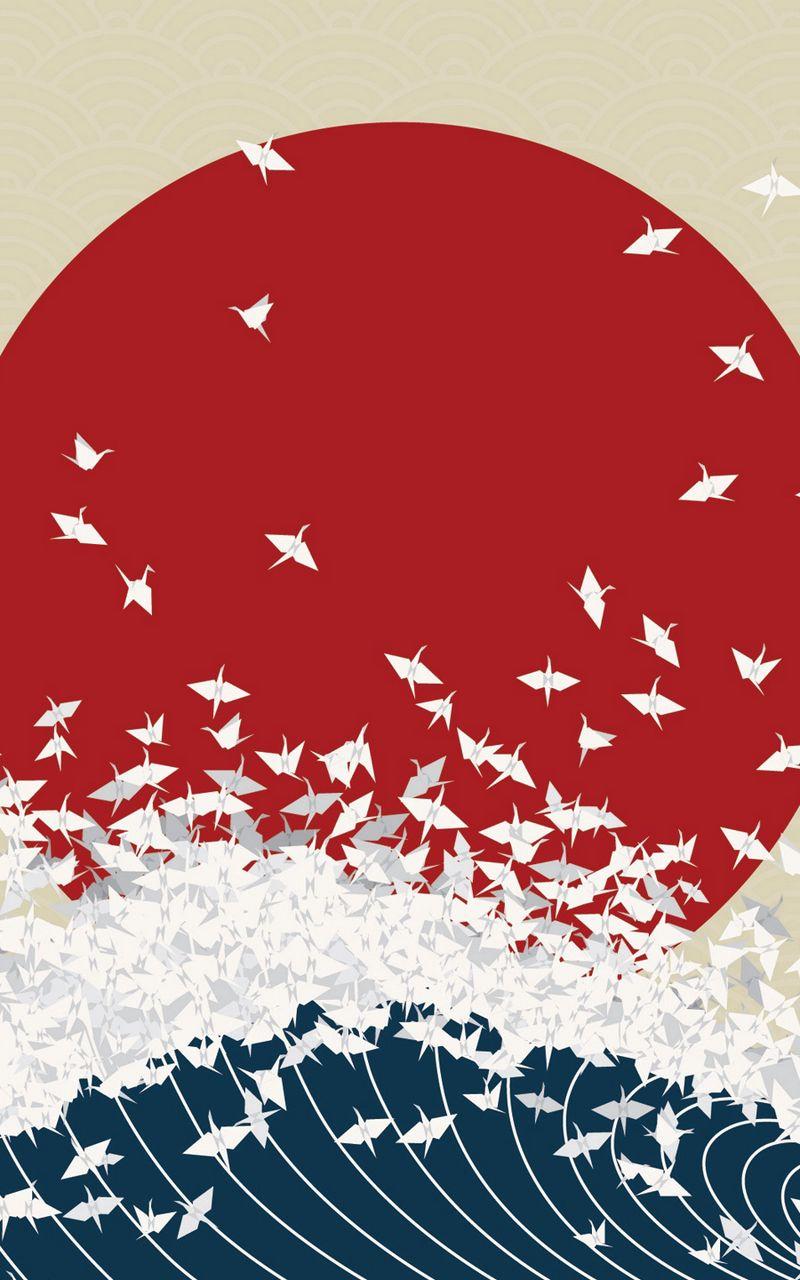 800x1280 Wallpaper minimalism, origami, japan, rising sun, wave