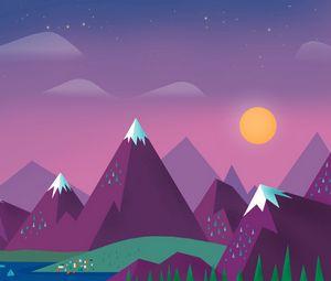 Preview wallpaper minimalism, sky, clouds, sun, mountains, lake, landscape
