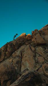 Preview wallpaper minimalism, sky, rocks, plant