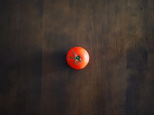 Preview wallpaper minimalism, tomato, red, table, wall, shadow, background