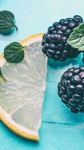 Preview wallpaper mint, blackberry, lemon