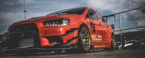 Preview wallpaper mitsubishi lancer evolution x, mitsubishi, sports car, racing, side view, red