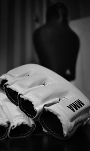 Preview wallpaper mixed martial arts, mma, wrestling, bw, gloves