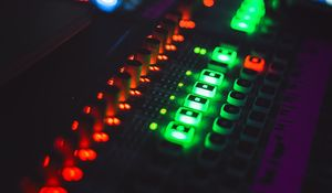 Preview wallpaper mixing console, backlight, dj, electronic device, glare