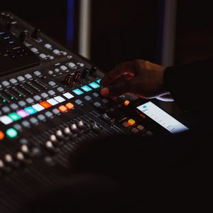 Preview wallpaper mixing console, hand, music, buttons, mixing