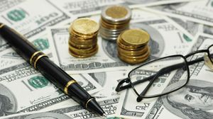 Preview wallpaper money, bills, coins, pen, glasses