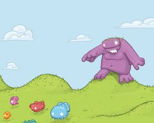 Preview wallpaper monster, grass, colorful, animals, vector