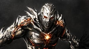 Preview wallpaper monster, iron, crack, fire, aggression