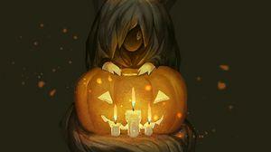 Preview wallpaper monster, pumpkin, candles, art