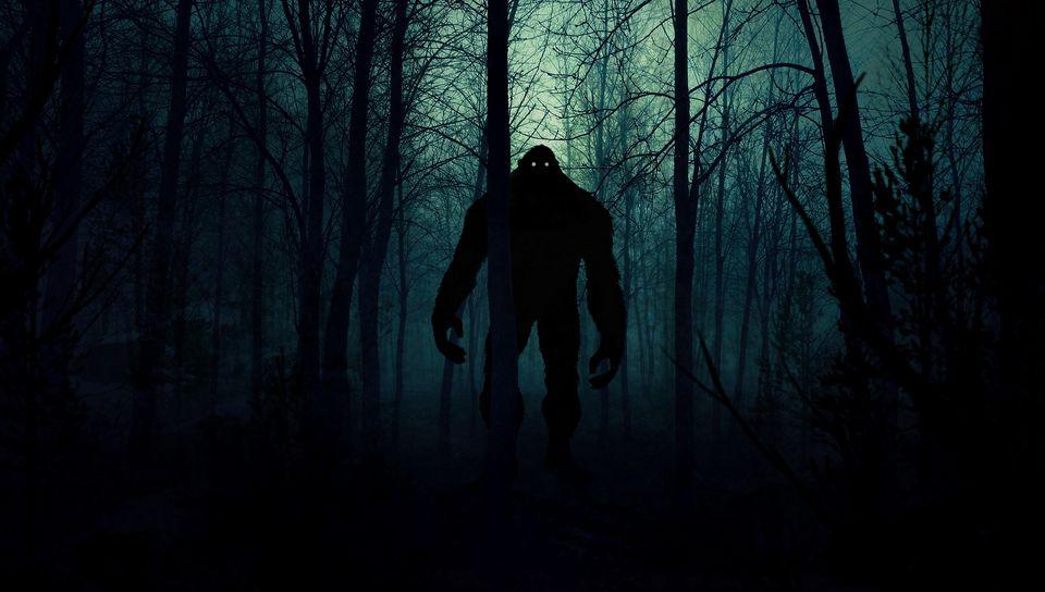 960x544 Wallpaper monster, silhouette, forest, night, art