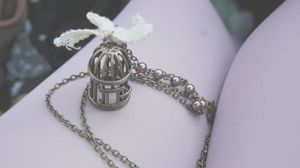 Preview wallpaper mood, notebook, book, page, sheet, jewelry, accessories, fashion jewelry, chain, pendant, cage, bird