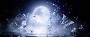 Preview wallpaper moon, butterflies, stars, glitter, art