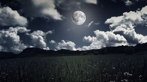 Preview wallpaper moon, clouds, grass, field, full moon, photoshop