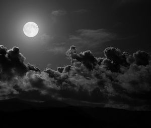 Preview wallpaper moon, clouds, sky, black-and-white