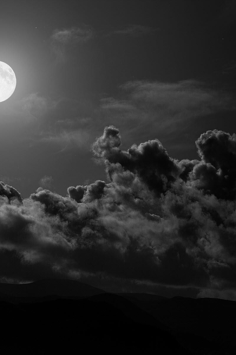 800x1200 Wallpaper moon, clouds, sky, black-and-white