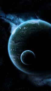 Preview wallpaper moon, glow, dark, space, flight
