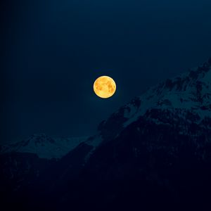 Preview wallpaper moon, mountains, night, full moon, moonlight