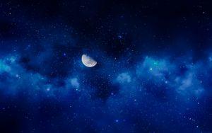 Preview wallpaper moon, night, stars, sky, full moon
