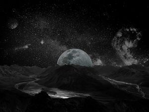 Preview wallpaper moon, planet, stars, galaxy, space